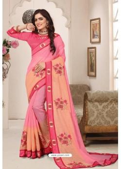 Classy Pink Designer Silk Sari