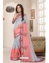 Classy Aqua Grey Designer Silk Sari