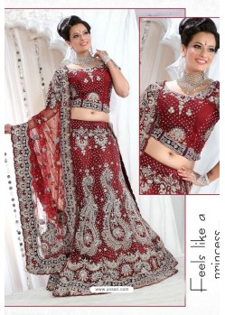 Fabulous Maroon Heavy Embroidered Wedding Lehenga Choli