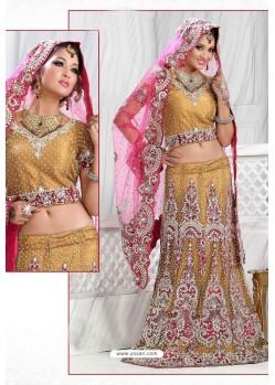 Fabulous Marigold Heavy Embroidered Wedding Lehenga Choli