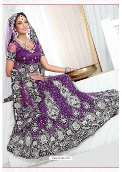 Fabulous Purple Heavy Embroidered Wedding Lehenga Choli