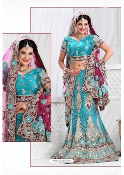 Fabulous Turquoise Heavy Embroidered Wedding Lehenga Choli