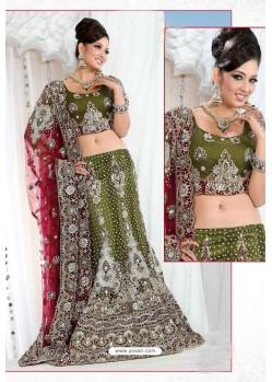 Fabulous Mehendi Heavy Embroidered Wedding Lehenga Choli