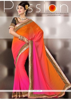 Orange And Pink Shaded Art Silk Party Wear Saree