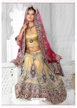 Fabulous Gold Heavy Embroidered Wedding Lehenga Choli