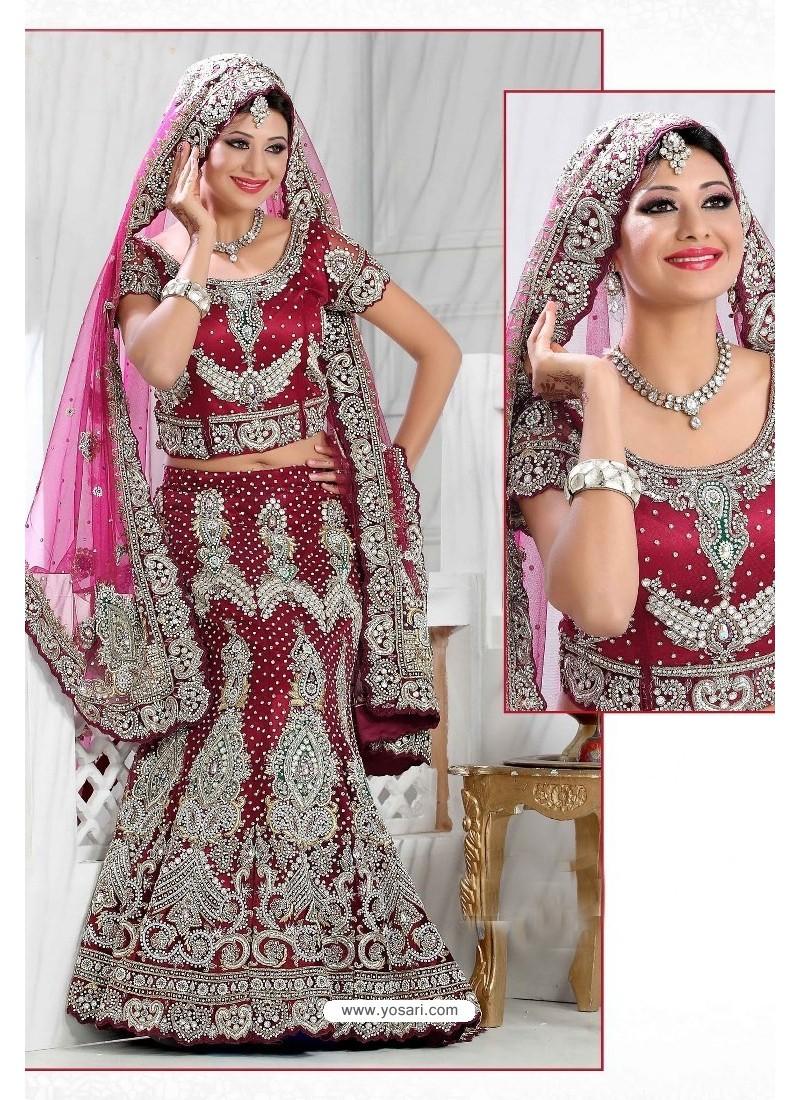 Fabulous Maroon Heavy Embroidered Wedding Lehenga Choli
