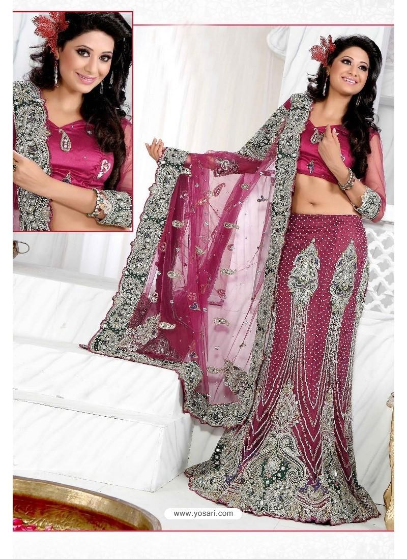 Fabulous Rose Red Heavy Embroidered Wedding Lehenga Choli