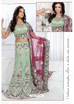 Fabulous Olive Green Heavy Embroidered Wedding Lehenga Choli