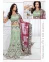 Fabulous Olive Green Heavy Embroidered Wedding Lehenga Choli