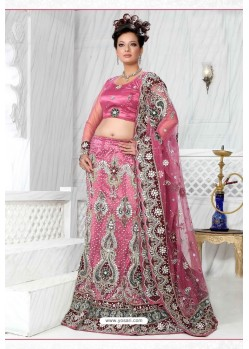 Fabulous Pink Heavy Embroidered Wedding Lehenga Choli