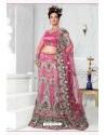 Fabulous Pink Heavy Embroidered Wedding Lehenga Choli