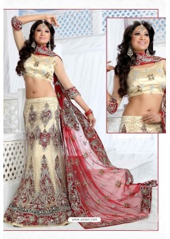 Fabulous Cream Heavy Embroidered Wedding Lehenga Choli