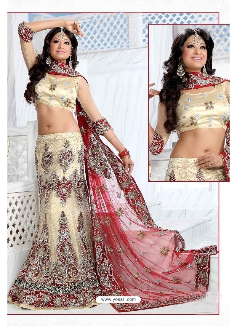 Fabulous Cream Heavy Embroidered Wedding Lehenga Choli