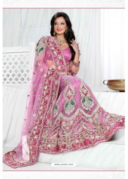 Fabulous Mauve Heavy Embroidered Wedding Lehenga Choli