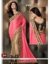 Stellar Beige And Pink Chiffon Designer Saree