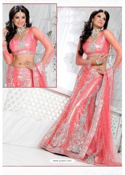 Fabulous Peach Heavy Embroidered Wedding Lehenga Choli