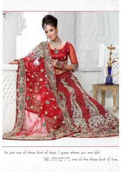 Fabulous Red Heavy Embroidered Wedding Lehenga Choli