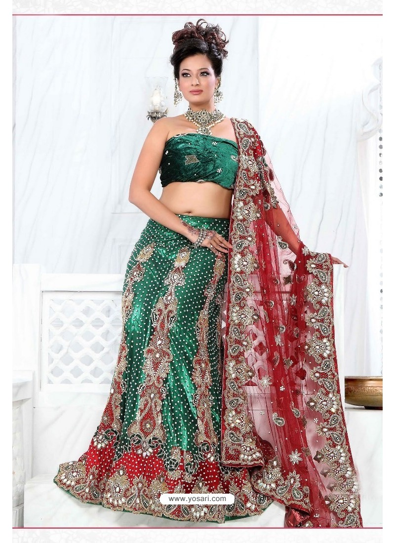 Fabulous Forest Green Heavy Embroidered Wedding Lehenga Choli