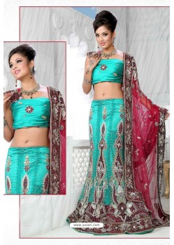 Fabulous Firozi Heavy Embroidered Wedding Lehenga Choli
