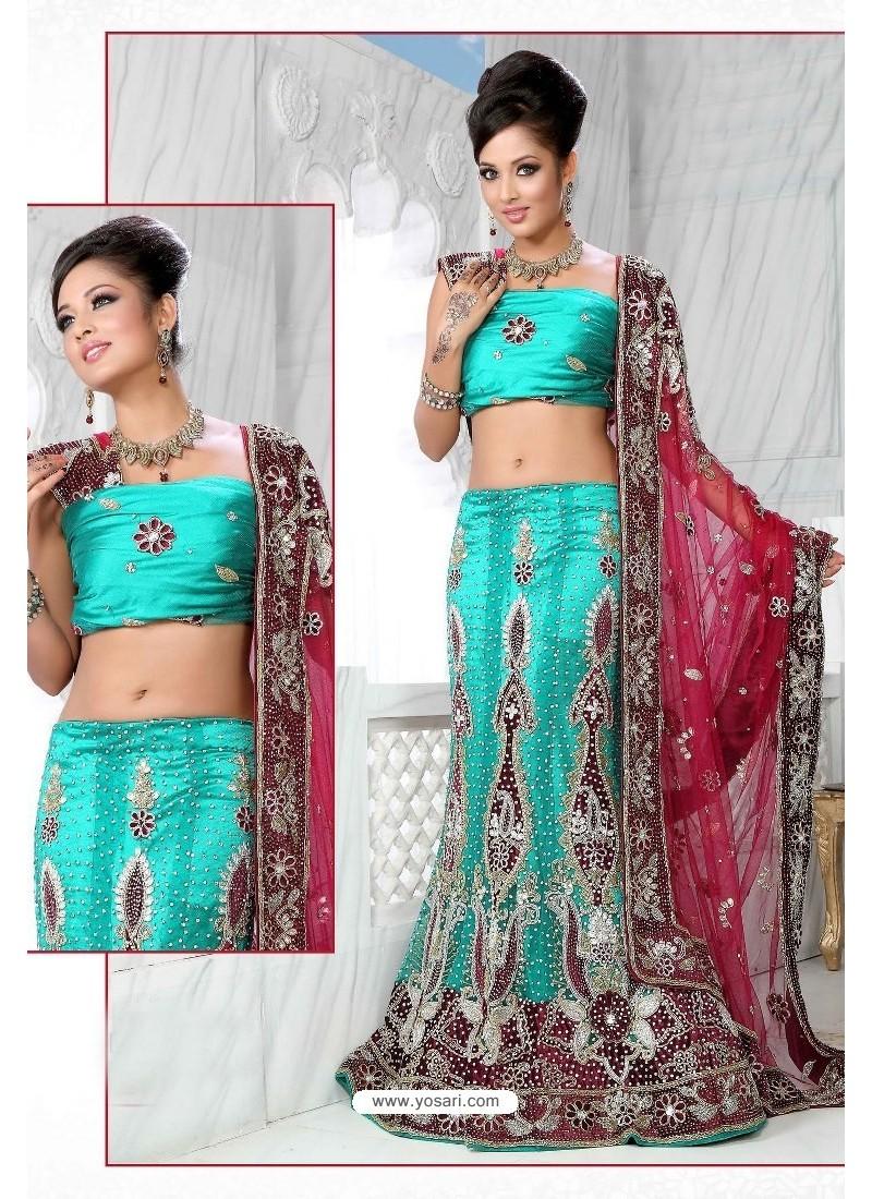 Fabulous Firozi Heavy Embroidered Wedding Lehenga Choli