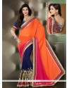Orange And Blue Zari Work Designer Saree