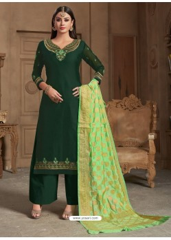 Fabulous Dark Green Embroidered Palazzo Salwar Suit