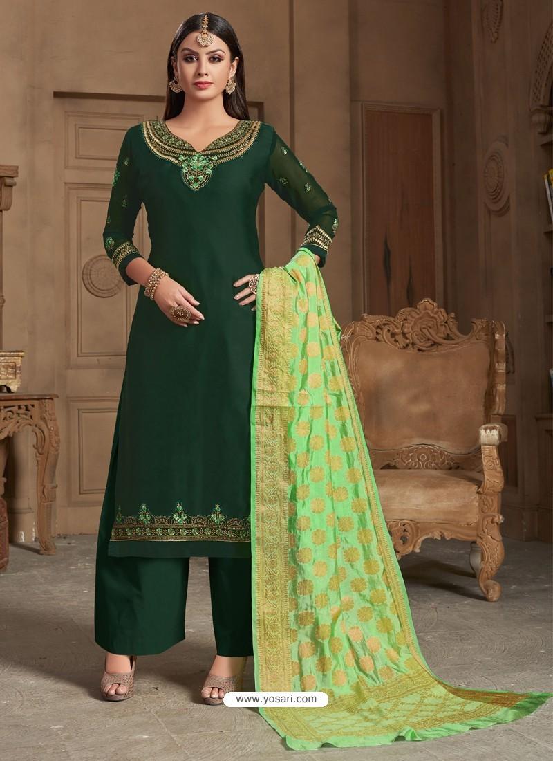 d119a22b0b Buy Fabulous Dark Green Embroidered Palazzo Salwar Suit | Palazzo ...