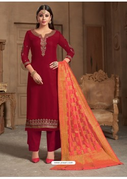 Ravishing Maroon Embroidered Palazzo Salwar Suit