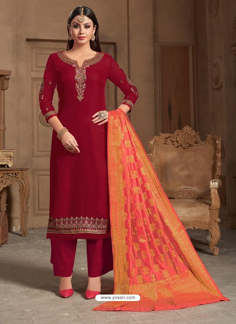 Ravishing Maroon Embroidered Palazzo Salwar Suit