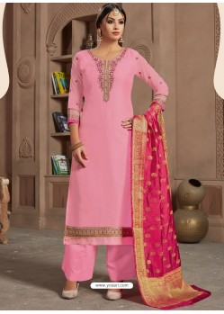 Ravishing Pink Embroidered Palazzo Salwar Suit