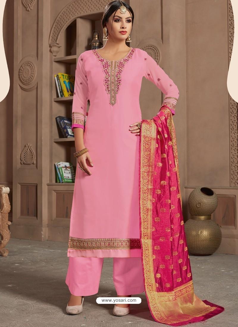 Ravishing Pink Embroidered Palazzo Salwar Suit