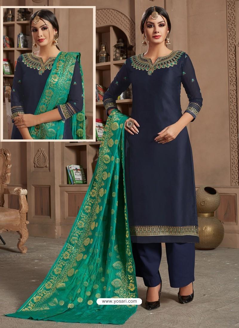 Ravishing Navy Blue Embroidered Palazzo Salwar Suit
