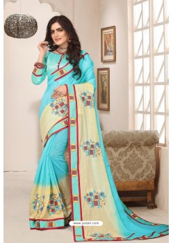 Classy Sky Blue Designer Silk Sari