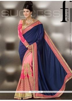 Navy Blue And Pink Art Silk Designer Saree