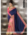 Navy Blue And Pink Art Silk Designer Saree