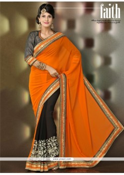 Orange And Black Georgette Designer Saree