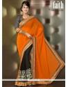 Orange And Black Georgette Designer Saree