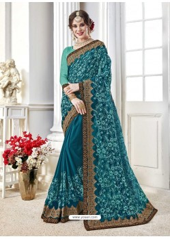 Awesome Teal Designer Georgette Sari