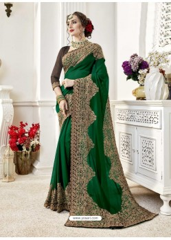 Trendy Dark Green Designer Georgette Sari