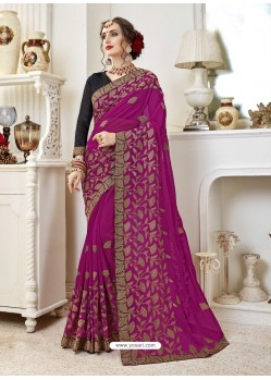 Awesome Medium Violet Designer Georgette Sari