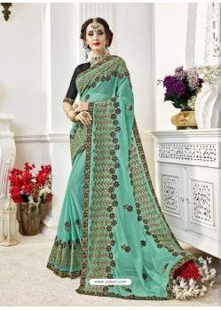 Awesome Firozi Designer Georgette Sari