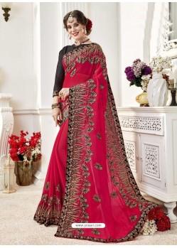 Awesome Fuchsia Designer Georgette Sari