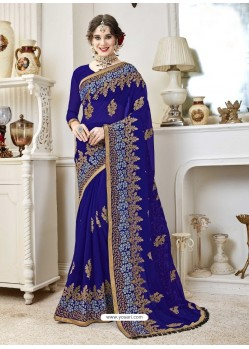 Awesome Royal Blue Designer Georgette Sari