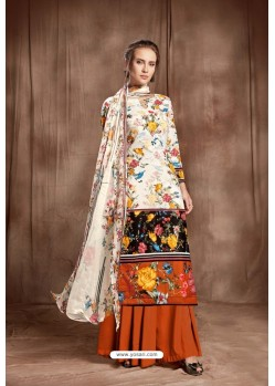 Fantastic Off White Designer Palazzo Salwar Suit