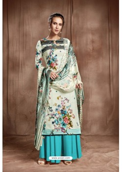 Fashionable Off White Designer Palazzo Salwar Suit