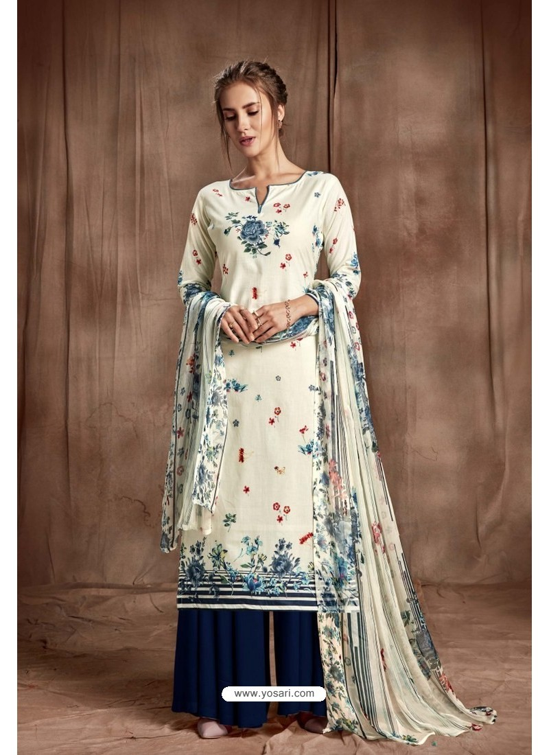 a457c98db6 Buy Nice Looking Off White Designer Palazzo Salwar Suit | Palazzo ...