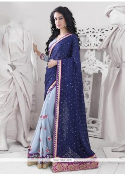 Elegant Blue Georgette Border Work Saree