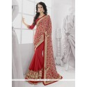 Ombre Red Georgette Party Wear Saree