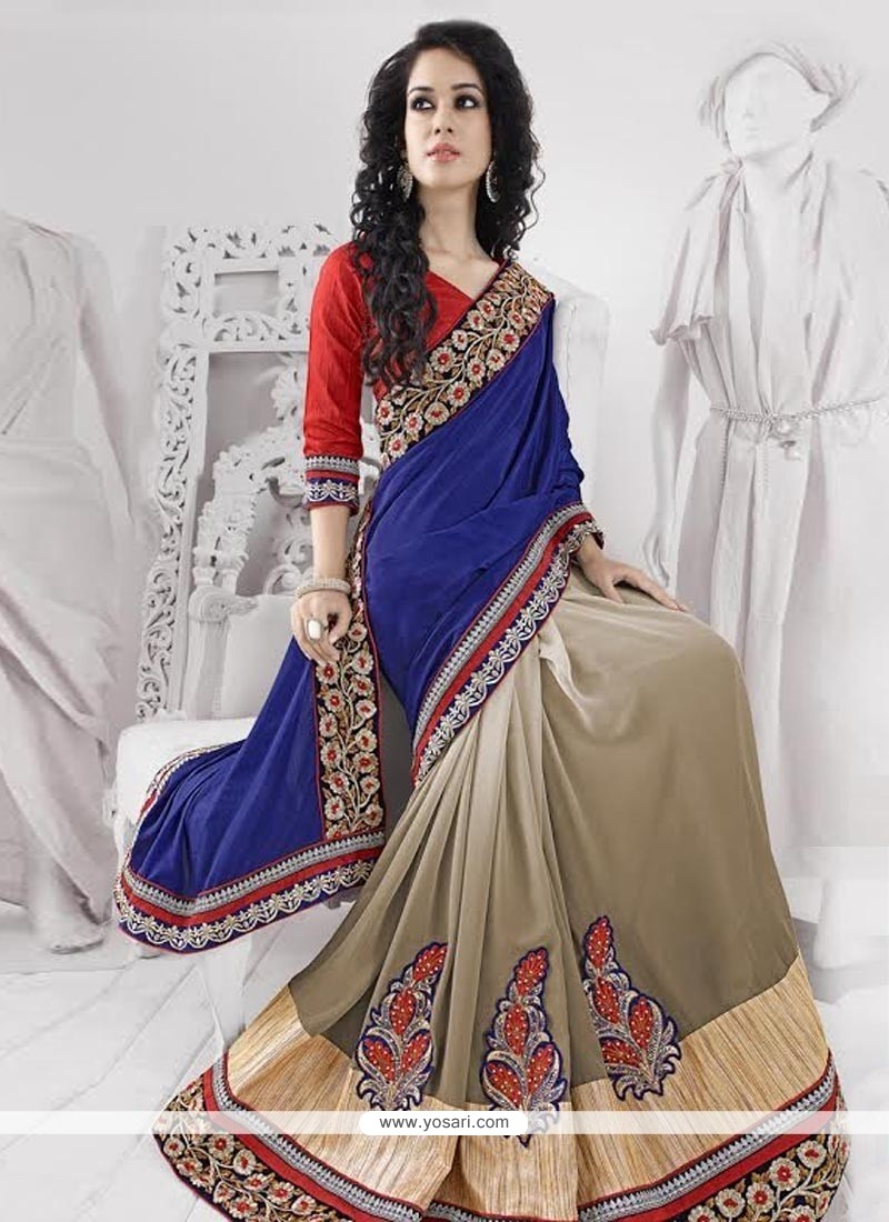 Blue And Brown Shaded Crepe Jacquard Saree