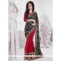 Simplistic Red And Black Georgette Saree